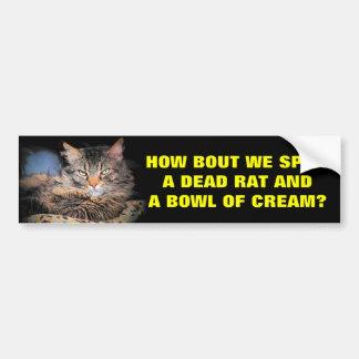 悪い猫は並べます死んだラットおよびクリームを選びます バンパーステッカー