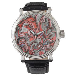 悪夢-手塗り抽象美術 腕時計