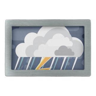 悪天候の嵐アイコン 長方形ベルトバックル