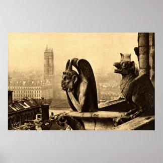 悪鬼Notre Dameのパリフランスの1912年のヴィンテージ ポスター
