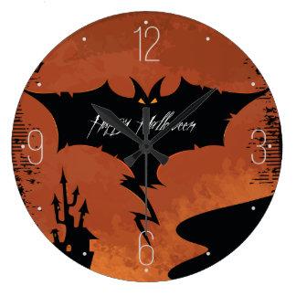 悪魔のこうもりとのハッピーハローウィン ラージ壁時計