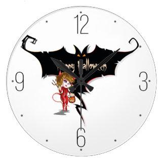 悪魔の女の子およびこうもり幸せなハロウィン ラージ壁時計