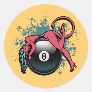 悪魔の女の子の8ボール ラウンドシール