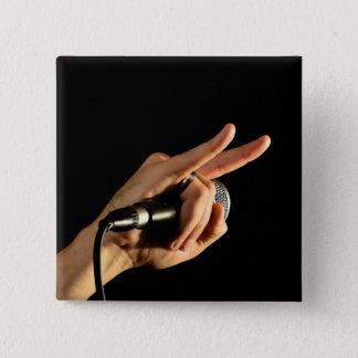 悪魔の角が付いているハードロックの重金属のバッジ 5.1CM 正方形バッジ
