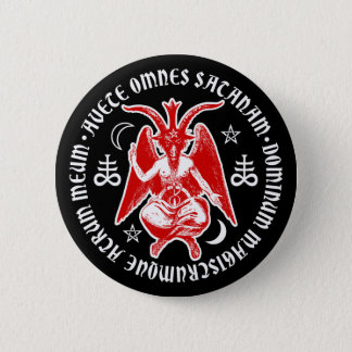 悪魔的な十字及び五芒星のBaphomet 5.7cm 丸型バッジ
