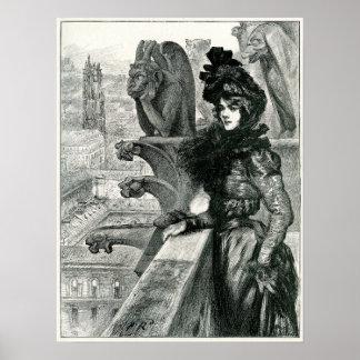 悪魔間の美しい、Notre Dame、パリ ポスター