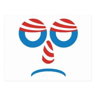 悲しいオバマは直面します ポストカード