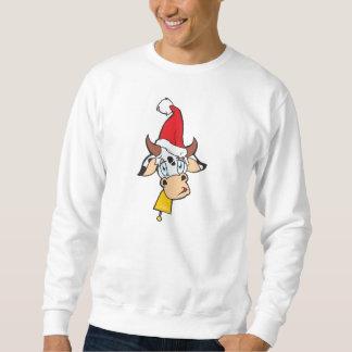 悲しいクリスマス牛サンタの帽子の鐘のTシャツのジャケット スウェットシャツ