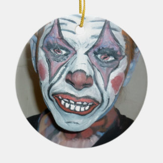 悲しいピエロの恐いピエロの顔の絵画 セラミックオーナメント
