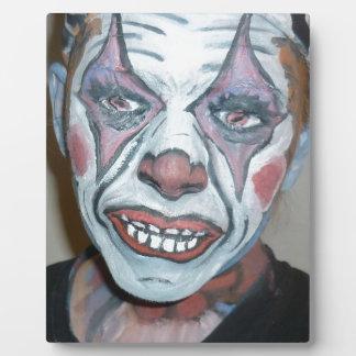 悲しいピエロの恐いピエロの顔の絵画 フォトプラーク