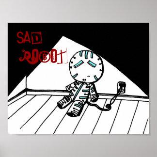 悲しいロボットプリント ポスター