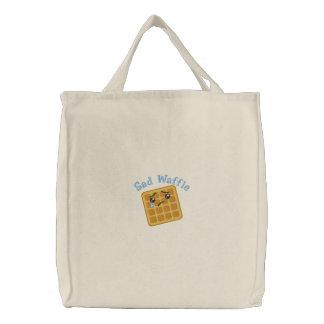 悲しいワッフルによって刺繍されるトート 刺繍入りトートバッグ