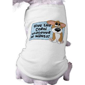 悲しい目のコーギー犬のワイシャツ ペット服