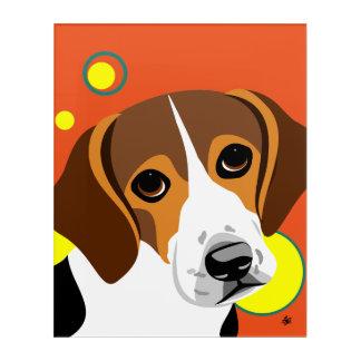 悲しい直面されたビーグル犬の芸術 アクリルウォールアート