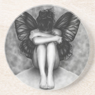 悲しい蝶女の子のコースター コースター