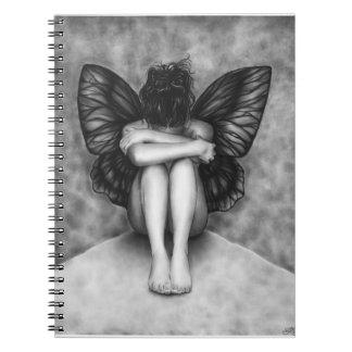 悲しい蝶女の子のノート ノートブック