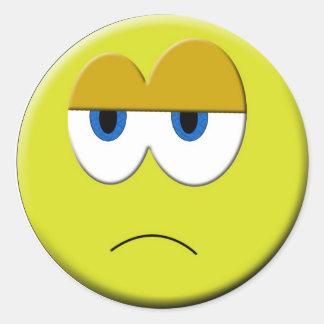 悲しい顔のステッカー ラウンドシール