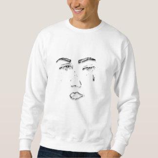 悲しい顔の白のスエットシャツ スウェットシャツ