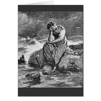 悲しく悲しい落ち込んだ若い女性 カード