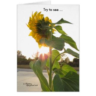 悲しさカードを通して日光の花を見て下さい グリーティングカード