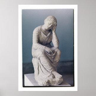 悲しむ娘、アチック、ギリシャ、c.330紀元前に(石) ポスター