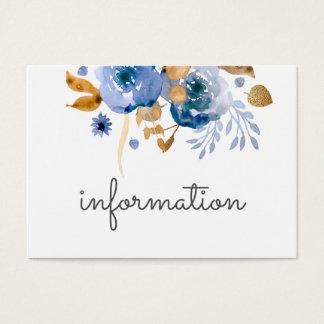 情報カードを結婚する水彩画の青い金ゴールド 名刺