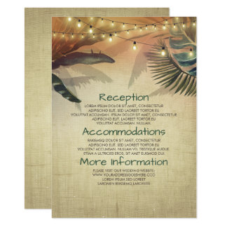 情報ゲストを結婚するビーチやしおよびライト カード