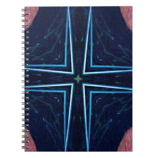情報通のトレンディーの抽象芸術の星の十字パターン ノートブック