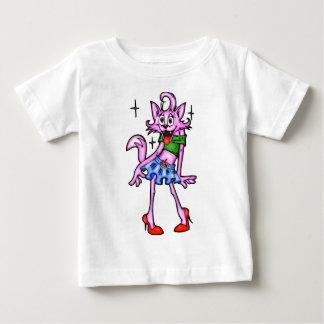 情報通のメスの漫画猫 ベビーTシャツ