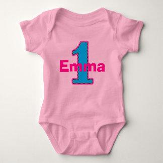 情報通の上品の最初誕生日の女の子のワイシャツ ベビーボディスーツ