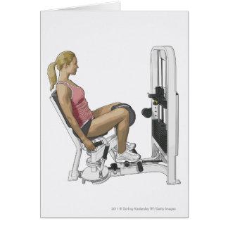情報通の外転筋を使用している女性のイラストレーション カード
