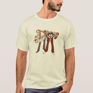 情報通の猫及びサイケデリックなひよこ Tシャツ