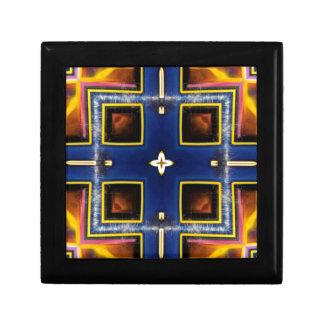 情報通の男らしく青く幾何学的なパターン ギフトボックス