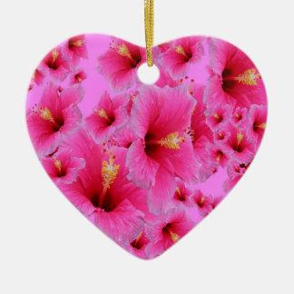 情熱のピンクのハイビスカスの花 セラミックオーナメント