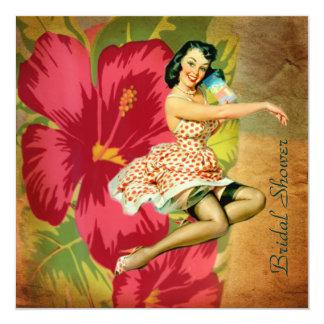 情熱の花のハワイのレトロのビーチのブライダルシャワー カード