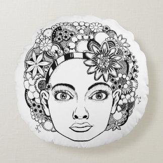 """""""情熱""""の女性の顔の花の円形のクッション ラウンドクッション"""