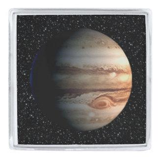 惑星のジュピターの星の背景(太陽系)の~ 銀色 ラペルピン