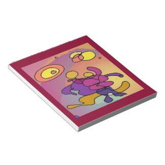 惑星のダンサーの抽象美術のメモ帳のバーガンディのワイン ノートパッド