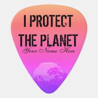 惑星のピンクのオレンジ虹の日没の木を保護して下さい ギターピック