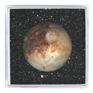 惑星のプルートの星の背景(太陽系)の~ シルバー ラペルピン