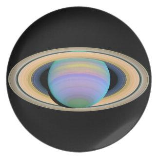 惑星の土星の宇宙のプレート プレート