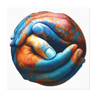 惑星の地球の世界平和を形作る握りしめられた手 キャンバスプリント