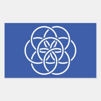 惑星の地球の旗-ステッカー 長方形シール・ステッカー