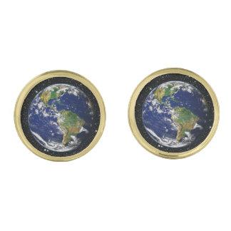 惑星の地球の星の背景(太陽系)の~ ゴールド カフスボタン