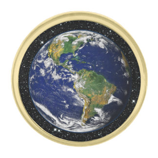 惑星の地球の星の背景(太陽系)の~ ゴールド ラペルピン