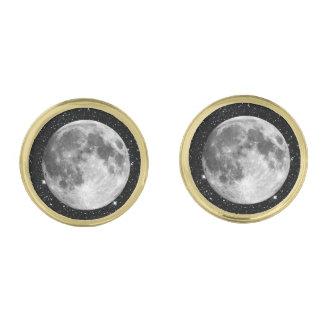 惑星の地球の月の星の背景(太陽系) ゴールド カフスボタン