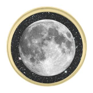 惑星の地球の月の星の背景(太陽系) ゴールド ラペルピン