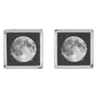惑星の地球の月の星の背景(太陽系) シルバー カフスボタン