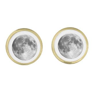 惑星の地球の月(太陽系)の~~ ゴールド カフスボタン