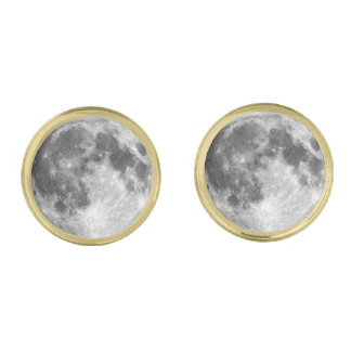 惑星の地球の月(太陽系)の~ ゴールド カフスボタン